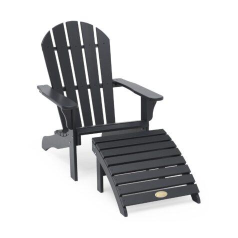 Tennessee adirondackstol med fotpall i mörkgrå furu från Hillerstorp.