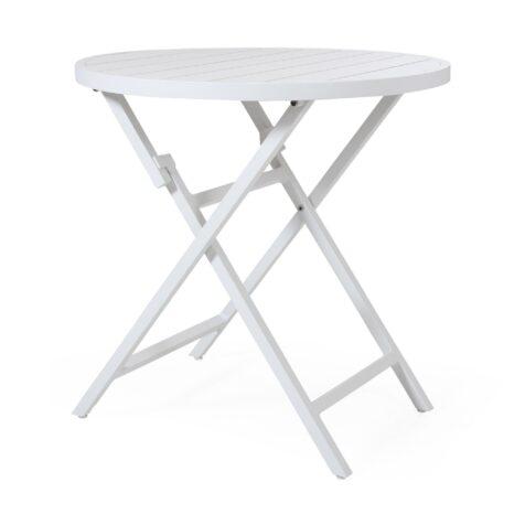 Wilkie, litet runt cafébord i vit aluminium från Brafab.