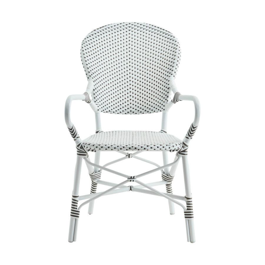 Bild framifrån på Isabell karmstol i vit konstrotting.