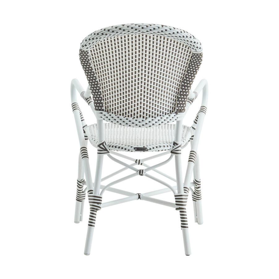 Bild bakifrån på Isabell karmstol i vit konstrotting.