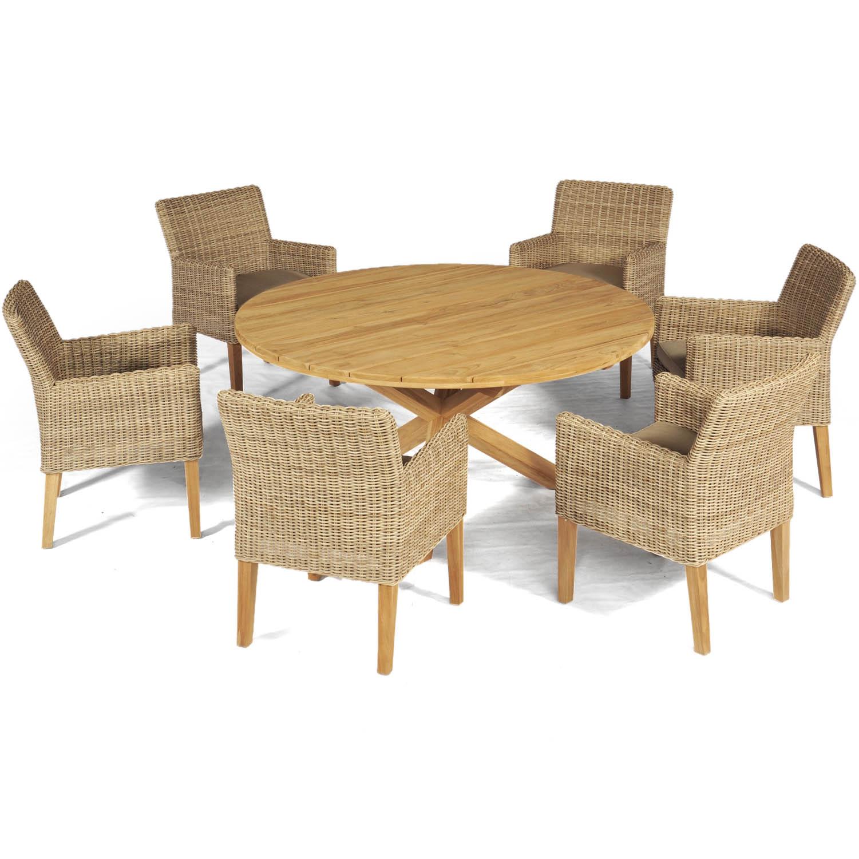 Maui karmstol och X-teak matbord från Atleve.
