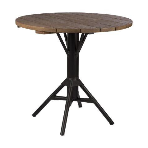 Nicole cafébord i svart med rund skiva i teak från Sika-Design.