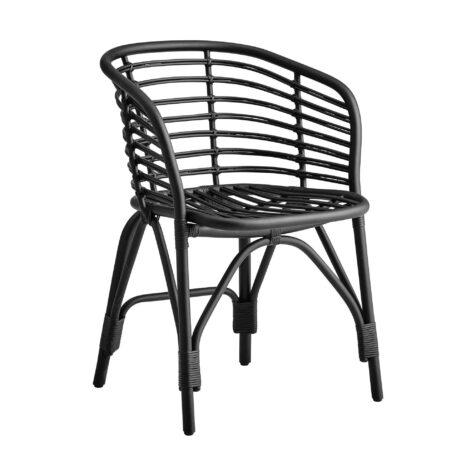 Blend karmstol i svart naturrotting från Cane-Line.