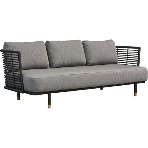Sense soffa i svart med ljusgrått Swipe elements tyg.