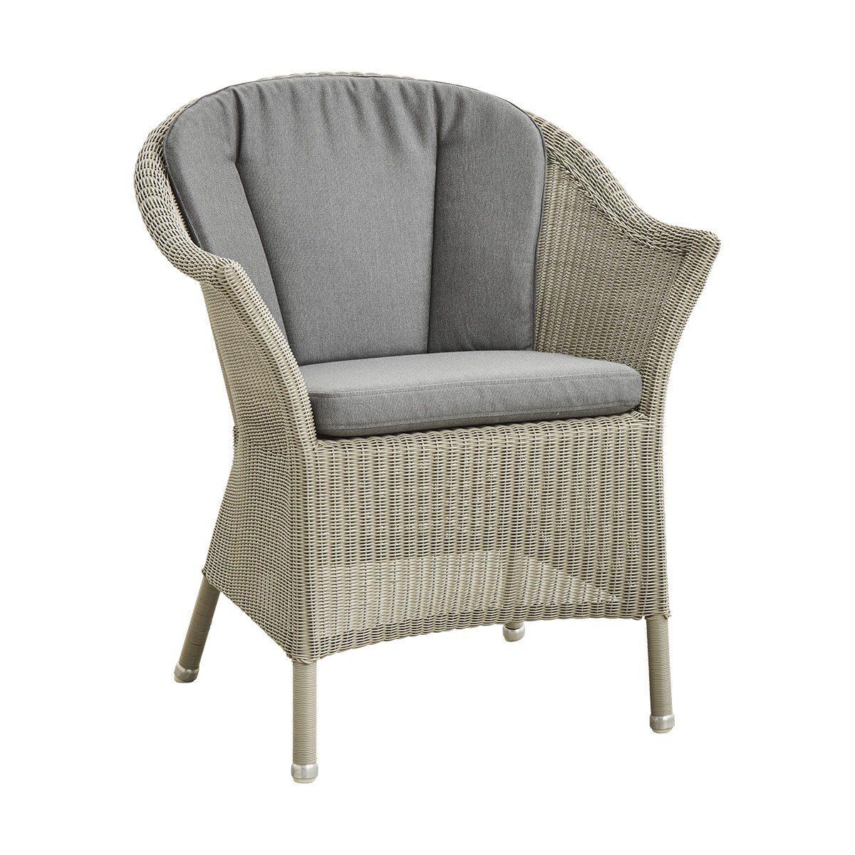 Lansing fåtölj taupe med grå rygg- och sittdyna.
