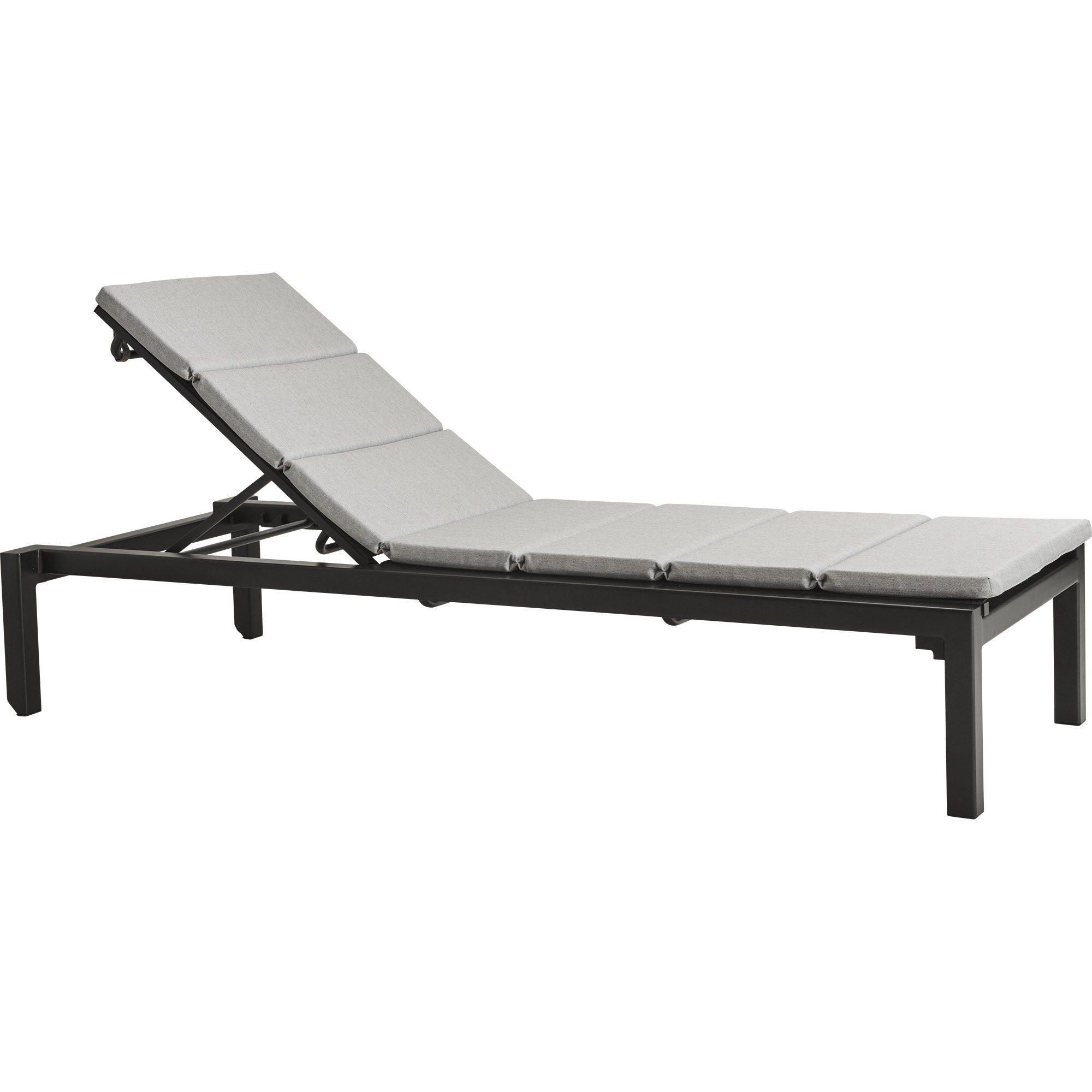 Relax grå solsäng med ljusgrå dyna.