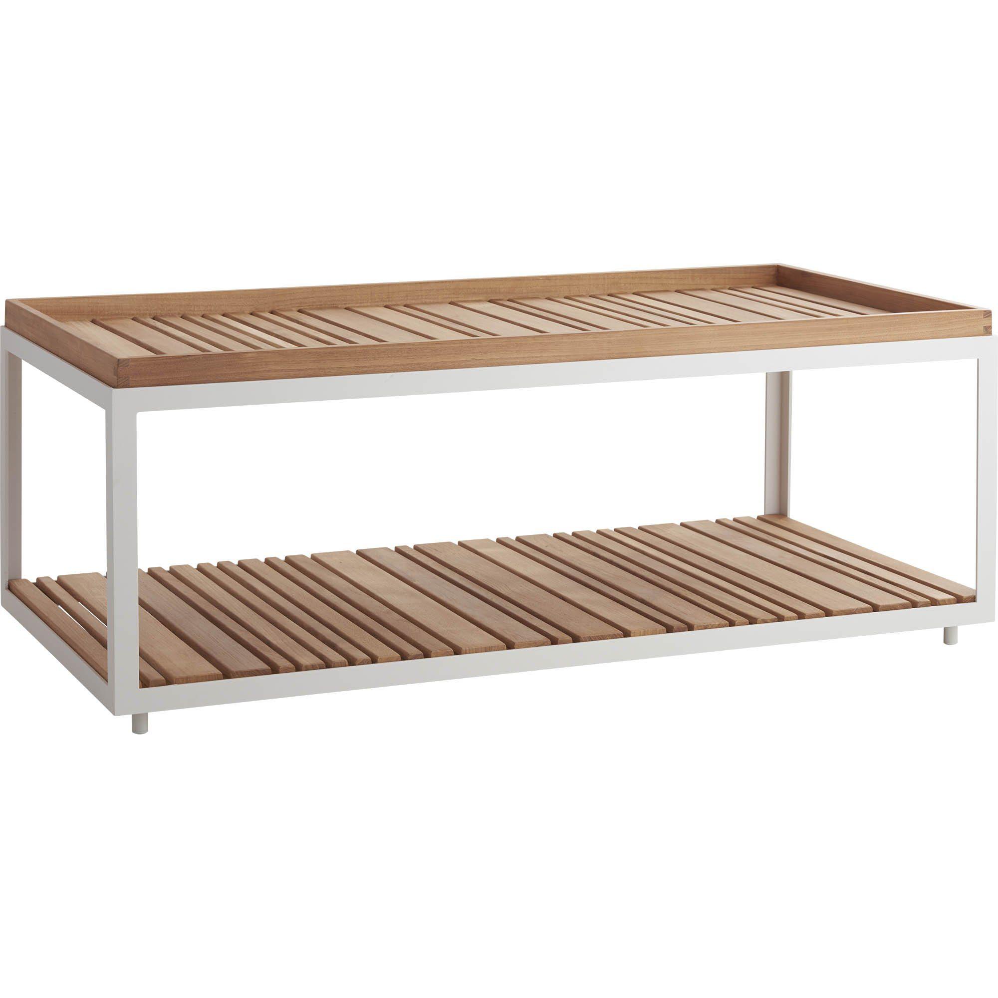 Level soffbord i vit aluminium och teak från Cane-Line.