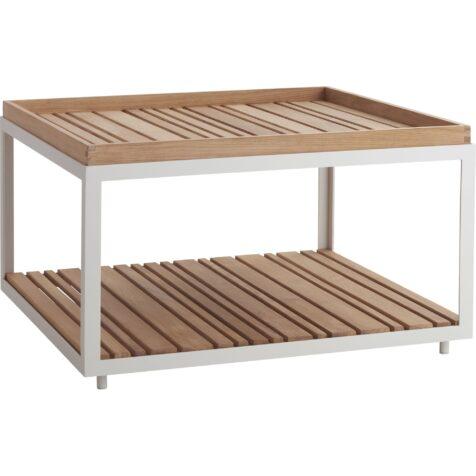 Level soffbord i vitt med bordsskivor i teak från Cane-Line.