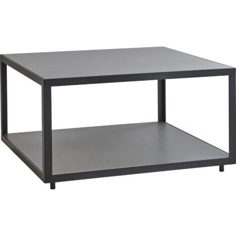 Level soffbord i lavagrå aluminium och ljusgrå skiva i keramik från Cane-Line.