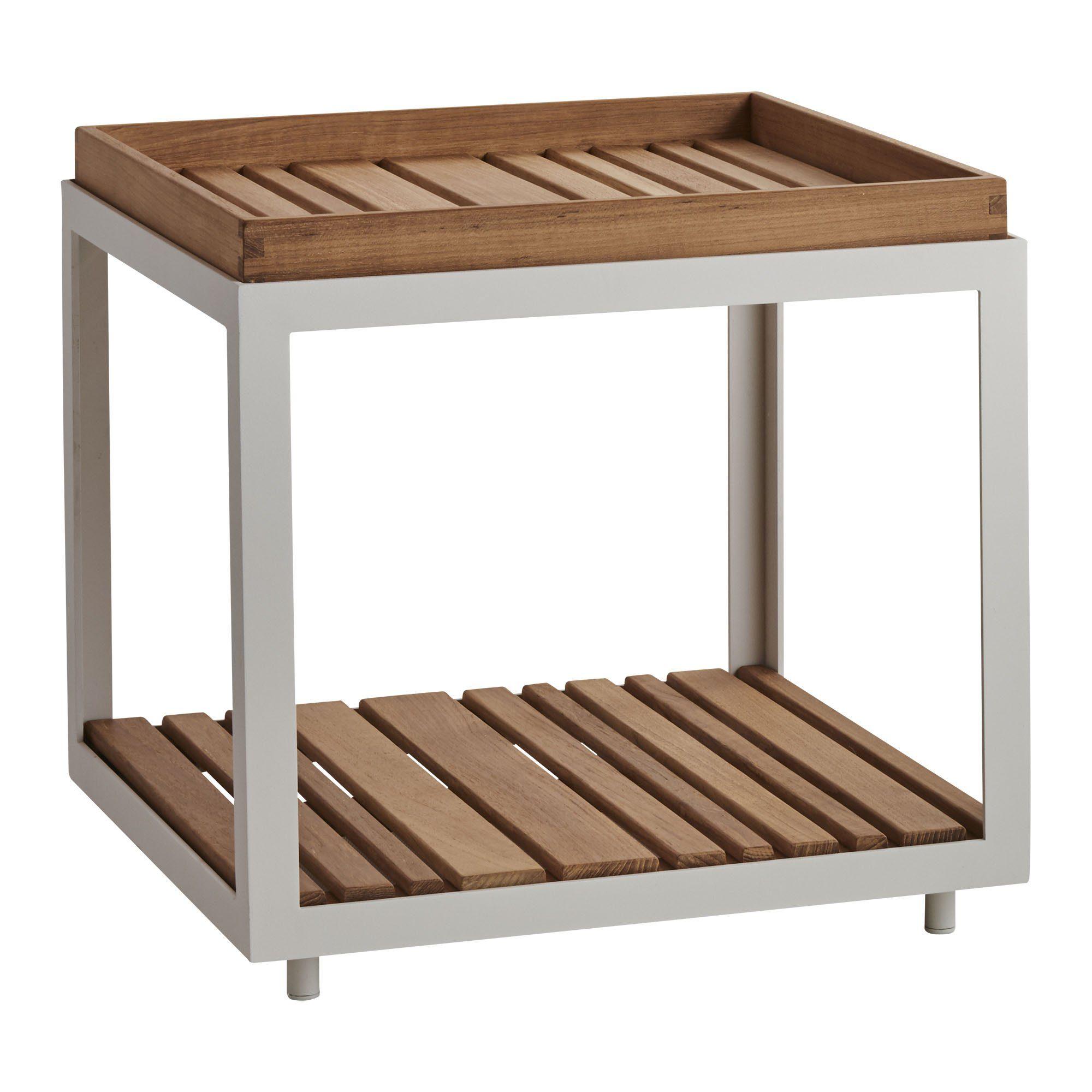 Level sidobord i vit aluminium och teak.