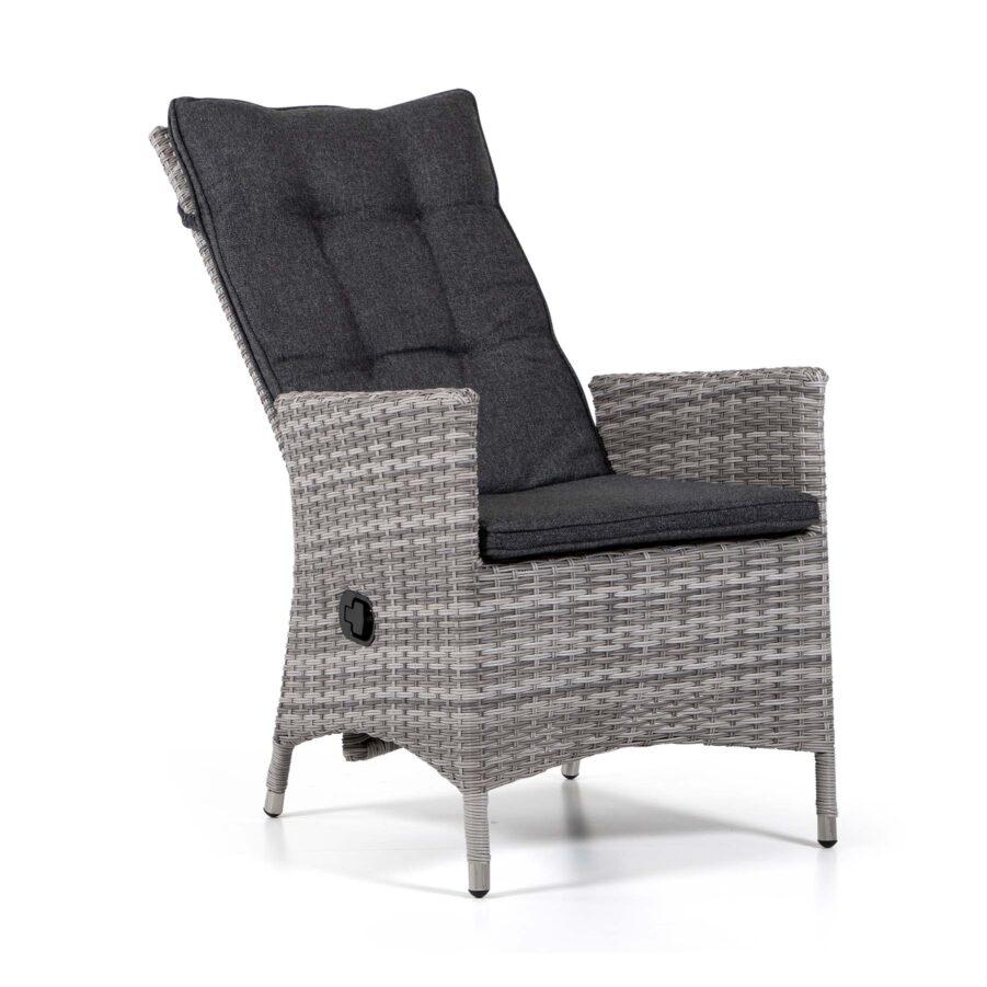 Georgia Lyx positionsstol i pärlgrå konstrotting med mörkgrå dyna.