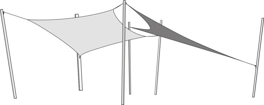 Exempel på montering av trekantigt och fyrkantigt solsegel.