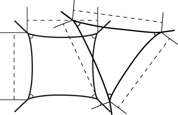 Skiss på exempel på montering av trekantigt och fyrkantigt solsegel.