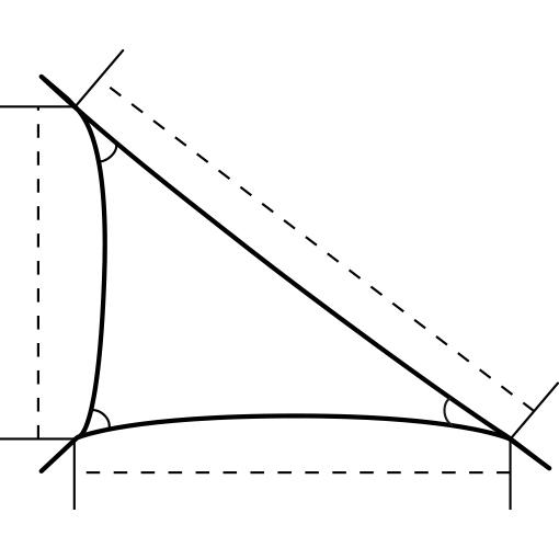 Skiss på trekantigt solsegel med rät vinkel från Umbrosa.