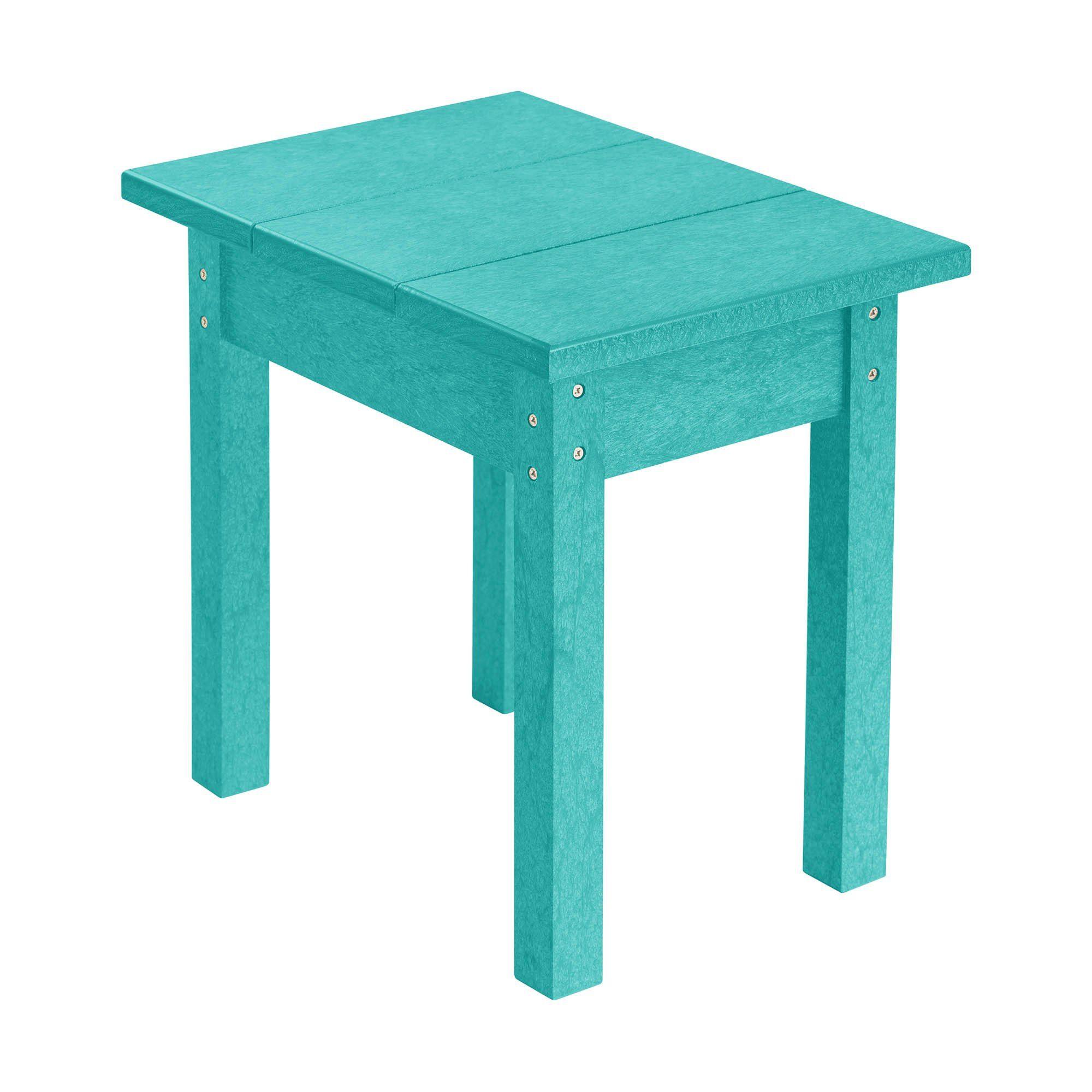 Eco utemiljö sidobord i plast i färgen turkos.