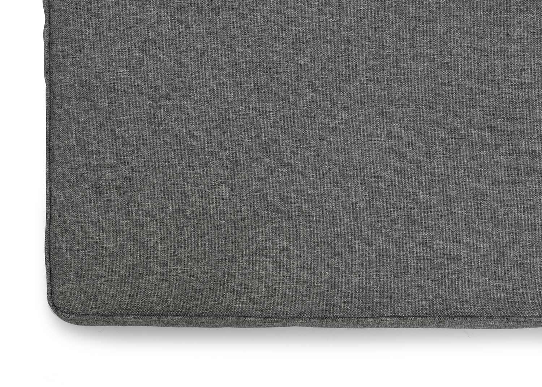 Detaljbild på grå melange sittdyna från Hillerstorp.