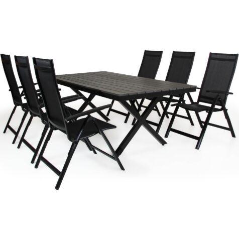 Creston positionsstolar och Leone matbord i svart från Brafab.