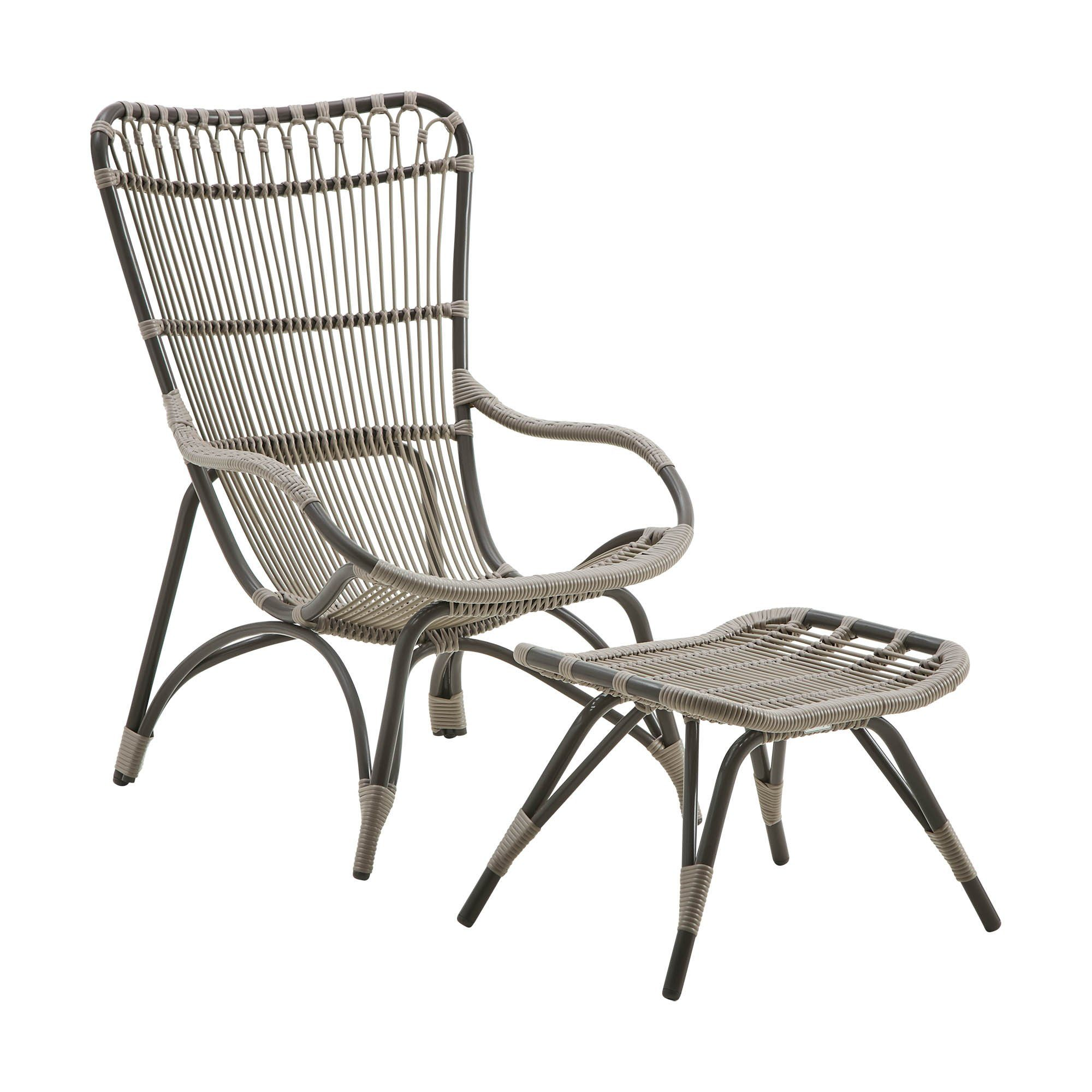 Monet fåtölj och fotpall från Sika-Design aluminium och konstrotting.