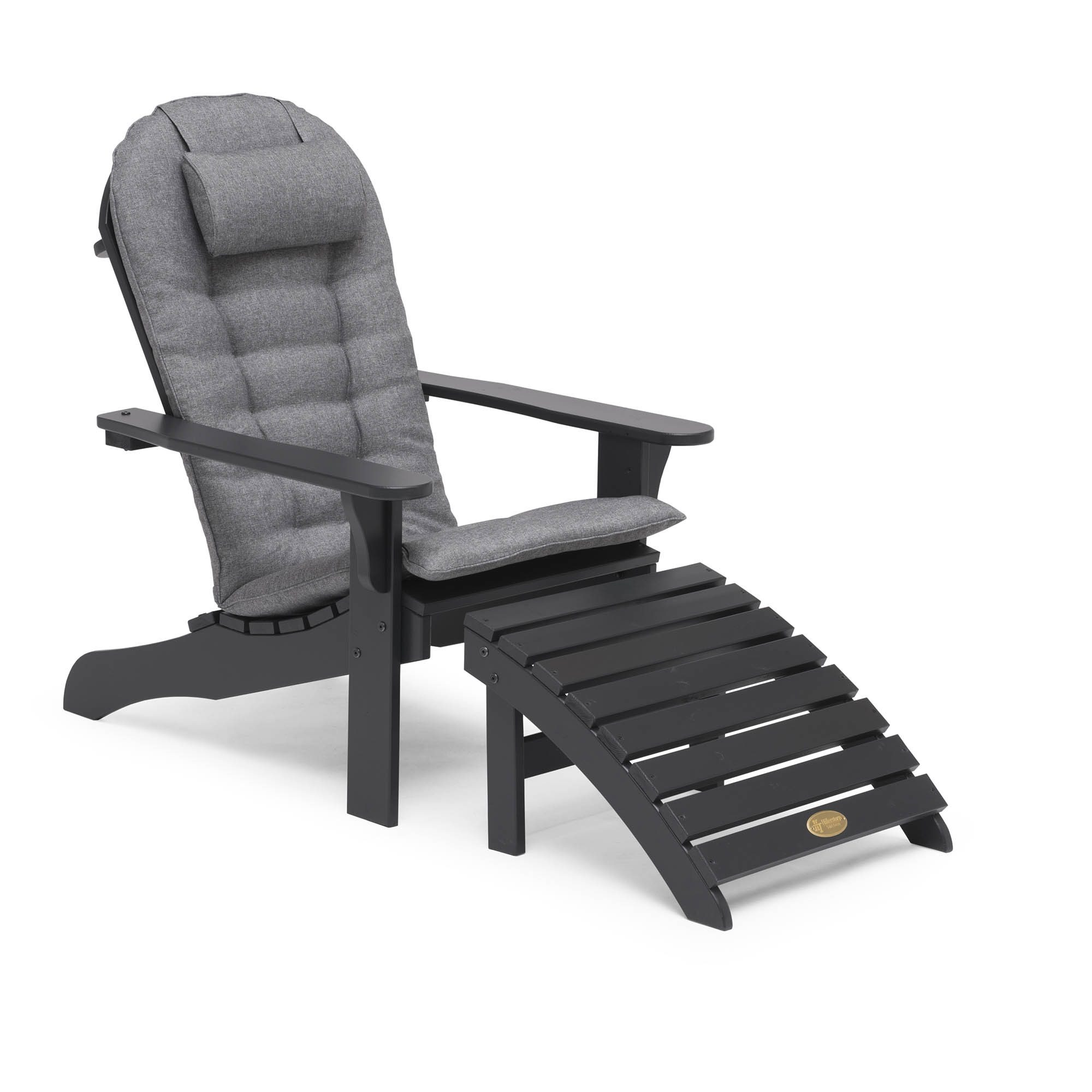 Tennessee däckstol med grå dyna med nackkudde.
