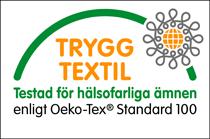 Trygg textil-märkning som visar att tycker inte innehåller hälsofarliga ämnen.