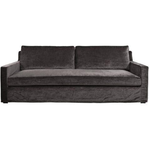 Guilford soffa i antracitgrått sammetstyg.