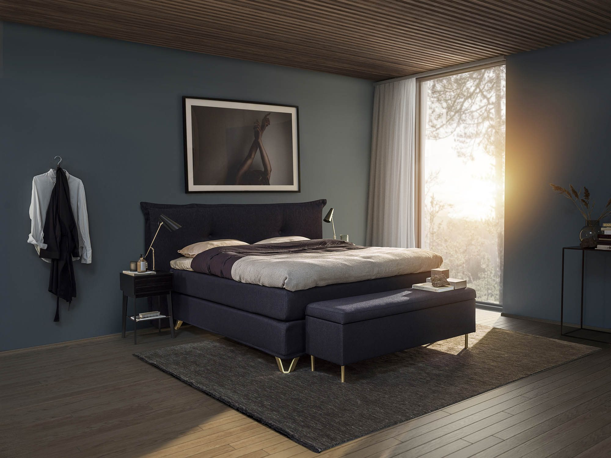 Miljöbild på sänggaveln med namnet Cosy från Jensen.