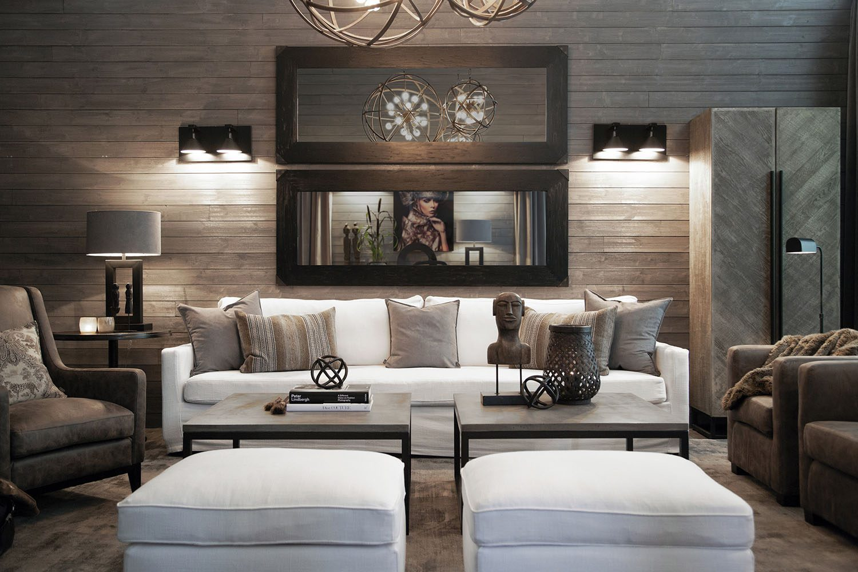 Miljöbild på soffan Guilford med soffbordet Yoshi i betong.