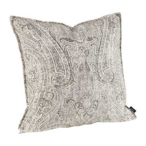 Sovereignt kuddfodral i storleken 50x50 cm i ljusgrått, mönstrat tyg.