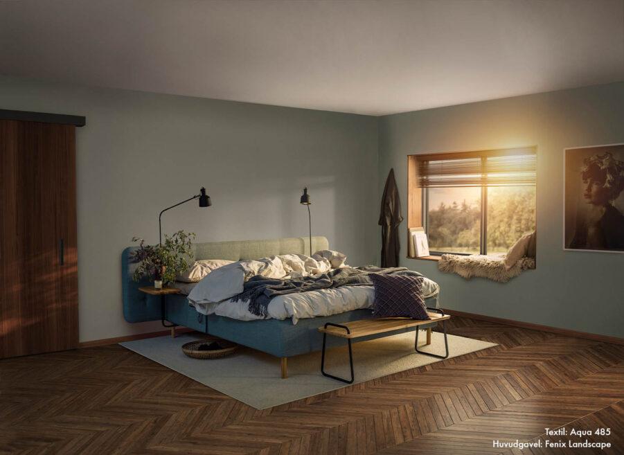 Jensen ambassadör ramsäng i färgen Aqua med sänggaveln Fenix Landscape.