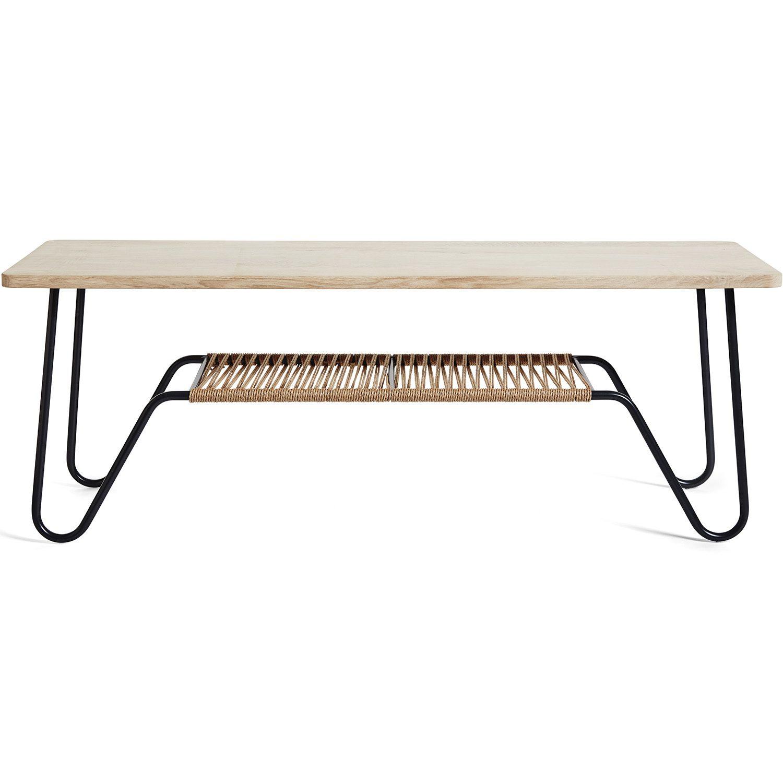 Marcel bänk eller soffbord från Mavis med topp i såpad ek.