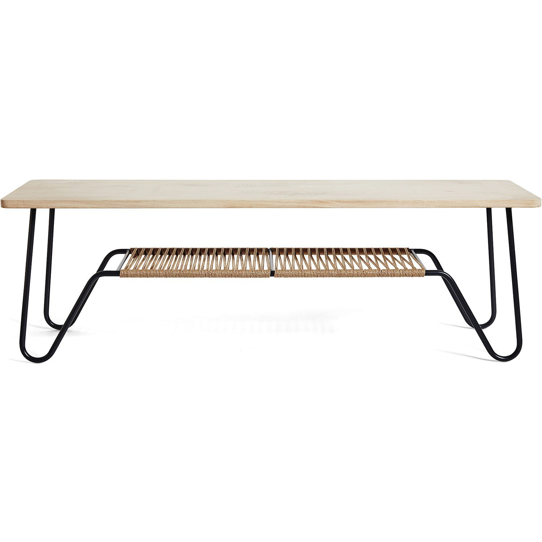 Marcel soffbord/bänk i svart stålstativ med toppskiva i såpad ek och hylla i pappersgarn.