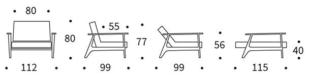 Mått på Splitback Frej stol.