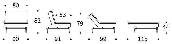 Mått på Dublexo stol med Stylettoben.