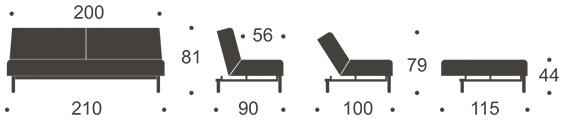 Mått på Ample soffa utan armstöd.