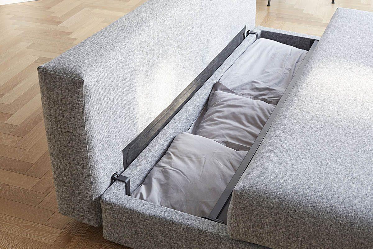 Förvaringsutrymme till sängkläder i Osvald bäddsoffa.