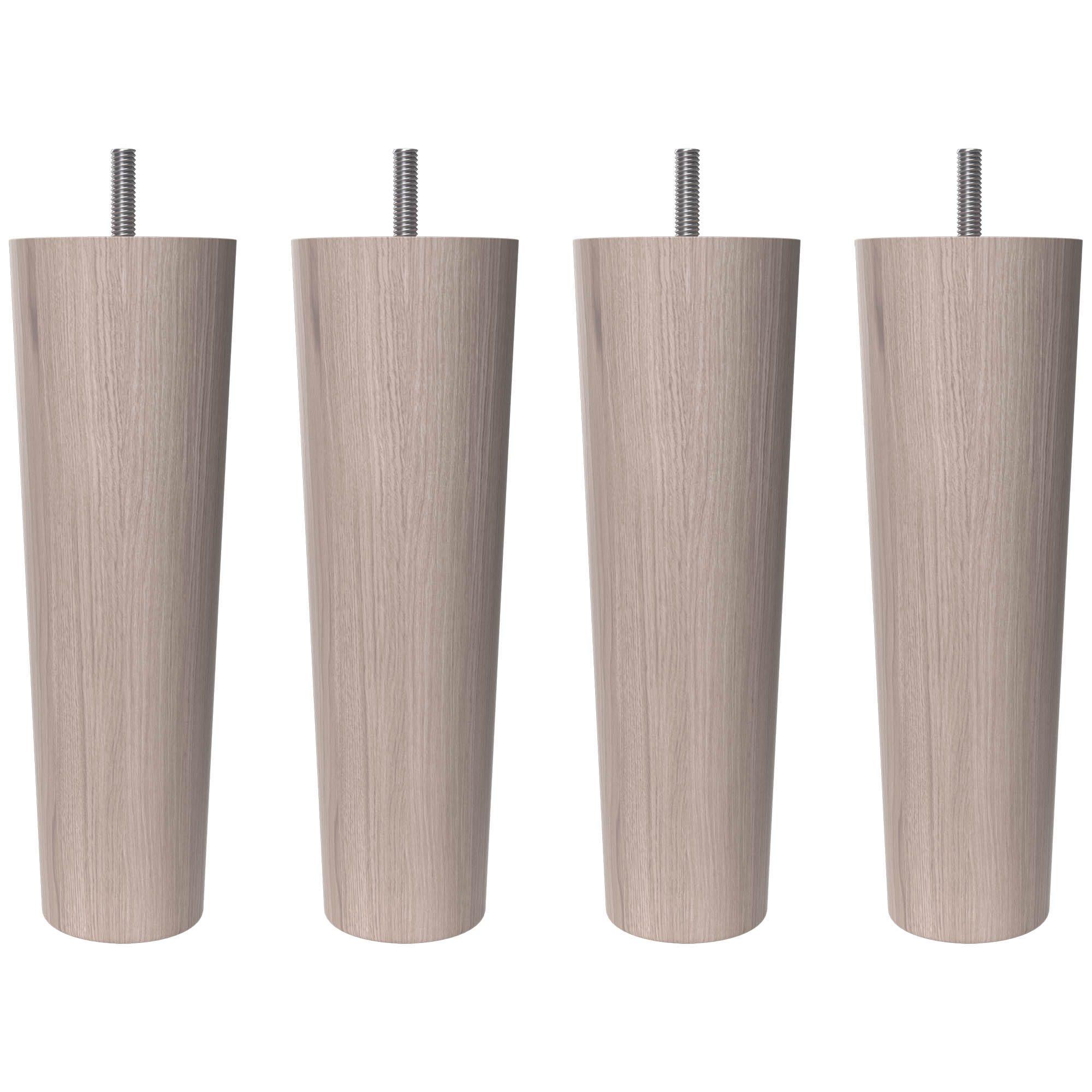 Vitlaserade runda träben från Wonderland 19 cm.