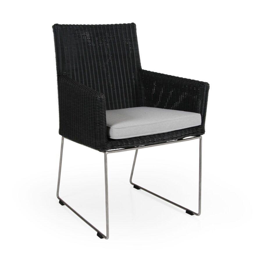 Dighton karmstol i antracitgrå konstrotting på stomme i rostfri stål.
