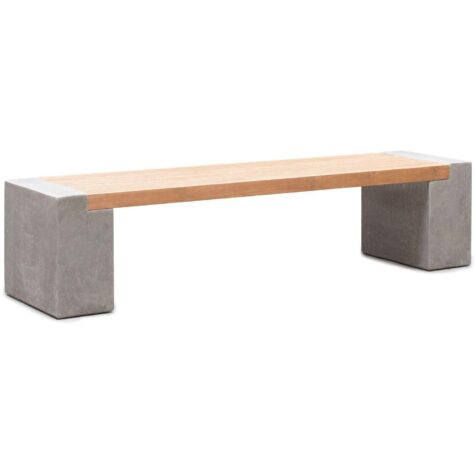 Modulo bänk med teaksits och betongfötter.