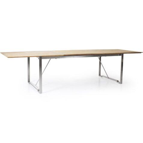 Gotland förlängningsbart matbord i stål och teak.