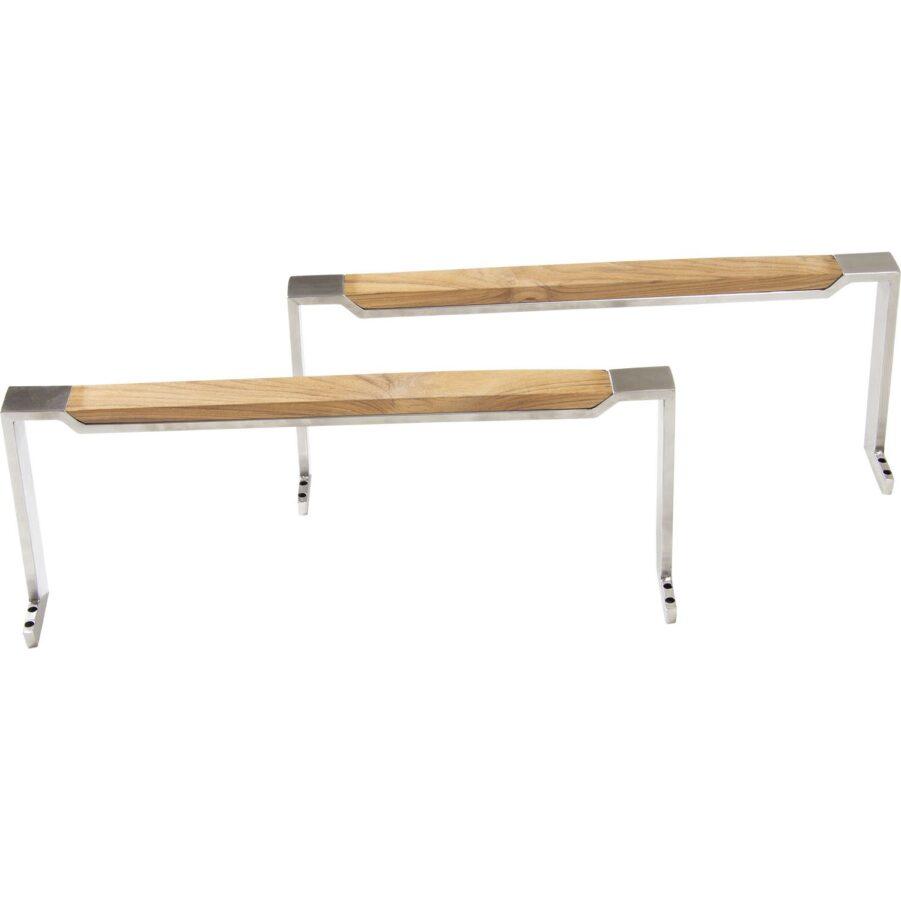 Armstöd i rostfri stål och teak som passar Gotland vilsäng.