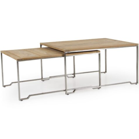 Gotland soffbordset i rostfri stål och teak.