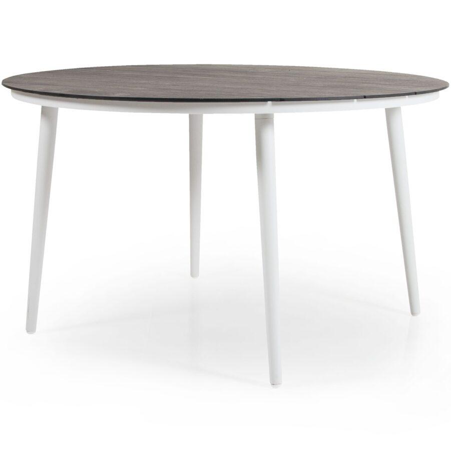 Runt matbord Callander i vitt med natur bordsskiva.