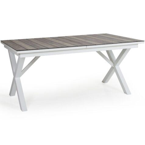 Hillmond förlängningsbart bord i vitt med naturfärgad skiva i laminat.