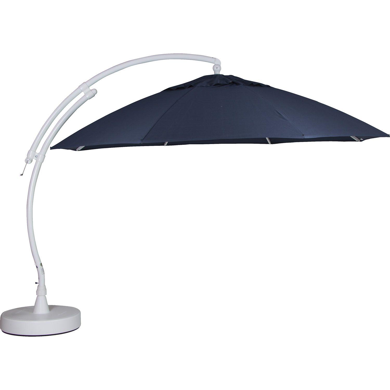 Easy Sun parasoll i vitt med marinblå duk.