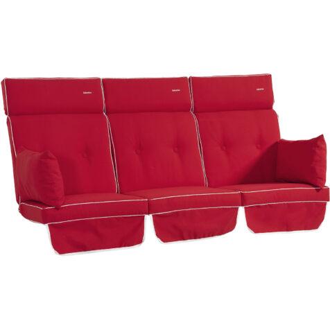 Selection hammockdynor i dralon i färgen röd.