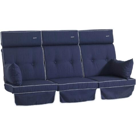 Selection hammockdynor i blått med vit kedjelist, från varumärket Fritab.