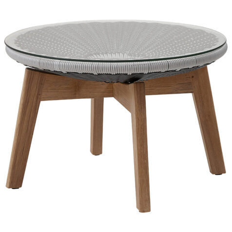 Peacock sidobord i grå och ljusgrå konstrotting samt teak.