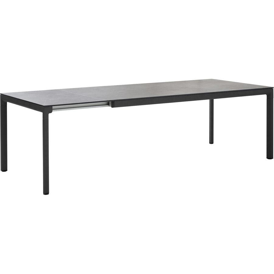 Drop förlängningsbord i lavagrått med svart bordsskiva i keramik.