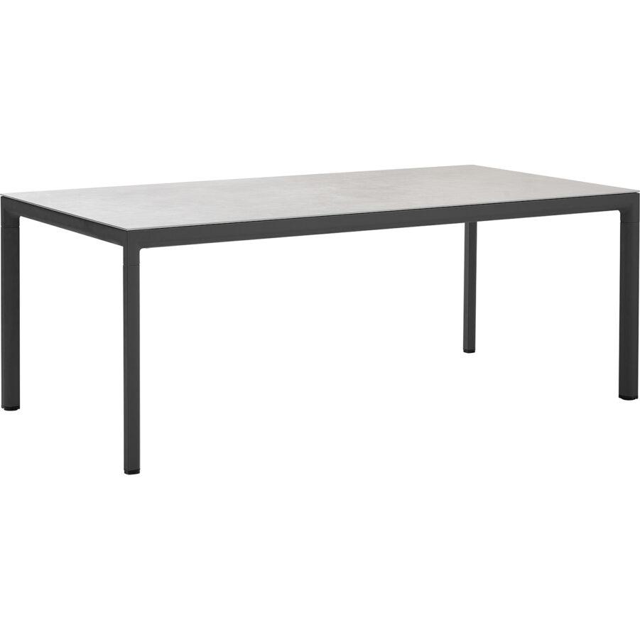 Drop matbord i storleken 200x100 cm med betongrå bordsskiva.