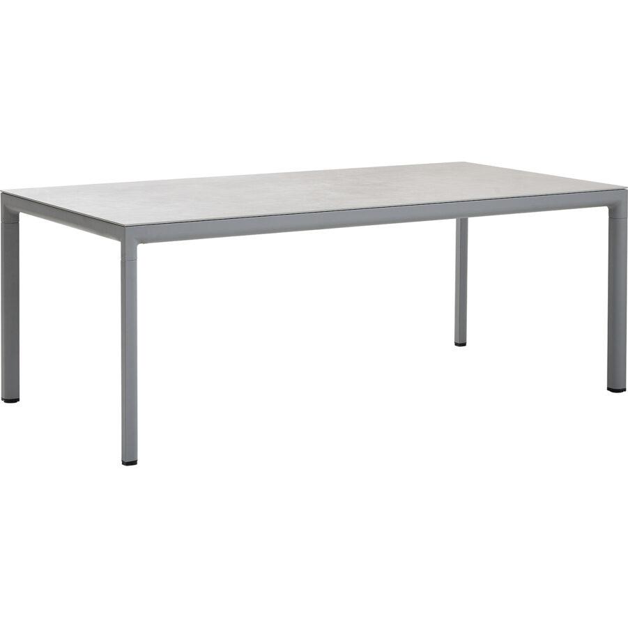 Drop matbord i ljusgrått med betonggrå bordsskiva.